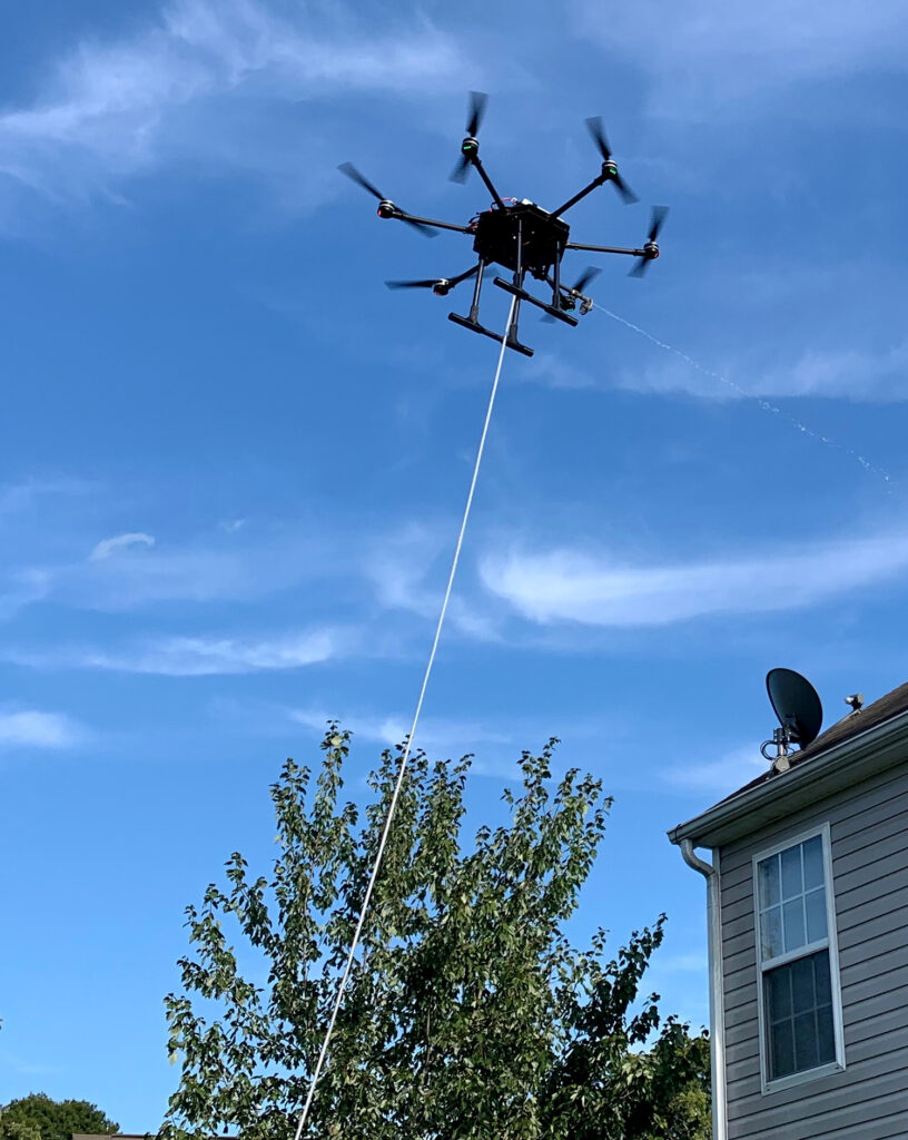 Image of a drone cleaning a private residence.